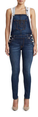 True Religion WOMENS SUPER SKINNY DENIM OVERALL W/ LOGO STRAP