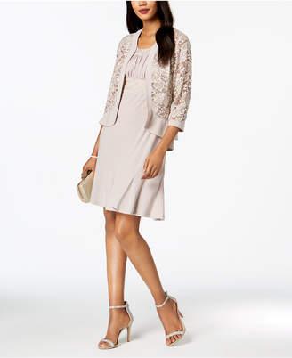 R & M Richards Dress & Sequined Lace Jacket