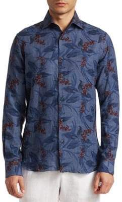 Saks Fifth Avenue COLLECTION Tropical Denim Shirt