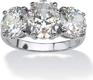 FINE JEWELRY Diamonart Womens White Cubic Zirconia Platinum Over Silver Oval Engagement Ring