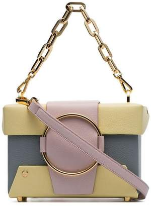 Yuzefi pastel blue and yellow Asher leather cross body box bag