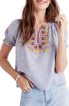 Madewell Women's Embroidered Penny Peasant Top