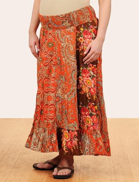 Smock Waist Midcalf Length Tiered Printed Fabric Maternity Skirt