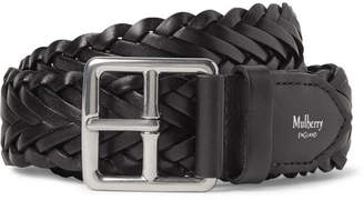 Mulberry 4cm Black Woven Leather Belt - Black