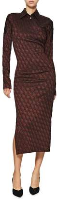 Jean Paul Gaultier Brown Woven Jacquard Midi Dress