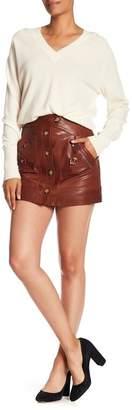 Veronica Beard Monroe A-Line Goat Leather Cargo Skirt