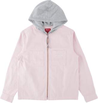 Supreme Hooded Stripe Denim Zip Up Swe - 'FW 17' - Pink