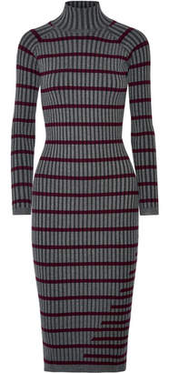 Alexander Wang Striped Ribbed Stretch-knit Midi Dress - Charcoal