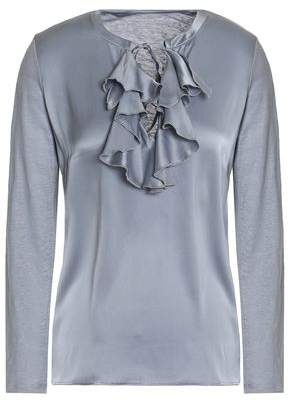 Free Shipping Discounts Popular Majestic Filatures Woman Ruffled Silk-satin And Slub Linen-jersey Top Gray Size 2 Majestic Filatures Discount Hot Sale Cheap Price For Sale Hu34cMyJDX