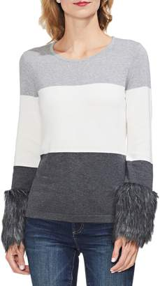 Vince Camuto Faux Fur Cuff Colorblock Sweater