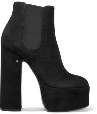 Laurence Dacade - Laurence Suede Platform Ankle Boots - Black $1,090 thestylecure.com