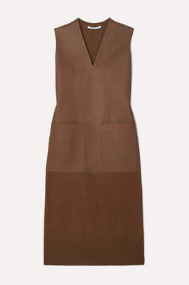 Agnona Leather And Cashmere Midi Dress - Brown