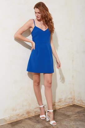 French Connection Blue V-Neck Whisper Dress Blue 4