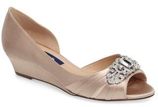 Women's Nina 'Radha' Swarovski D'Orsay Peep Toe Wedge $228.95 thestylecure.com