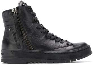 Crime London zipped hi-top sneakers