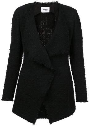 Akris Punto frayed edges tweed jacket