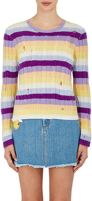 Marc Jacobs Women's Striped Cable-Knit Cashmere Sweater $395 thestylecure.com