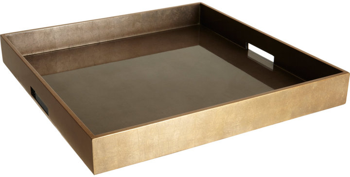 Barneys New York Espresso/Coffee Extra-Large Square Ottoman Tray
