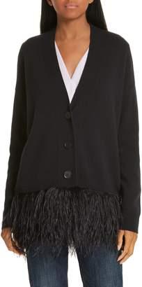 Lewit Feather Trim Wool & Cashmere Cardigan