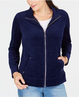 Karen Scott Velour Zip-Up Jacket