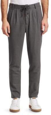 Brunello Cucinelli Pleat-Front Drawstring Cotton Pants