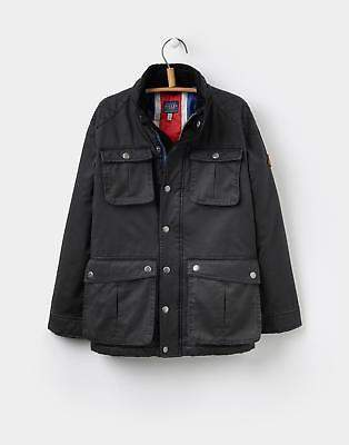 Boys Barnham Wax Style Jacket with Union Jack Lining 3-12 Years in Black