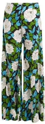 Diane von Furstenberg Boswell Floral Print High Rise Trousers - Womens - Green Print