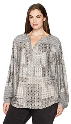 NYDJ Women's Plus Size Printed Peasant Top