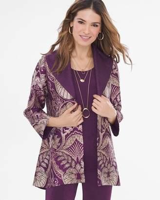 Travelers Collection Reversible Purple-Printed Crushed Velvet Jacket