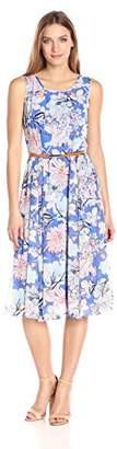 Gabby Skye Women's Sleeveless Floral Chiffon Dress