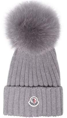 Moncler Grey wool beanie hat with pom pom