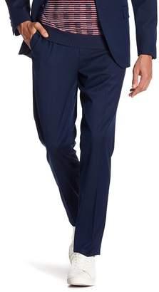 "Ben Sherman Blue Birdseye Flat Front Pants - 30-34\"" Inseam"