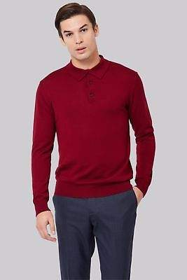 Mens Polo Collared Neck Merino Wool Sweater Jumper Wine Dark Red