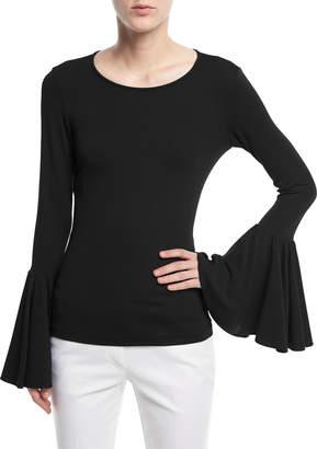 Michael Kors Crewneck Bell-Sleeve Jersey Top
