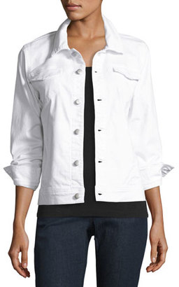 Eileen Fisher Stretch-Cotton Jean Jacket, White $238 thestylecure.com