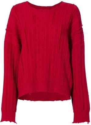 RtA Emmet Distressed Cherry Red Sweater