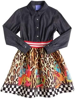 Stella Jean COTTON DENIM & PRINTED TWILL DRESS