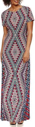 LONDON STYLE Short Sleeve Pattern Maxi Dress
