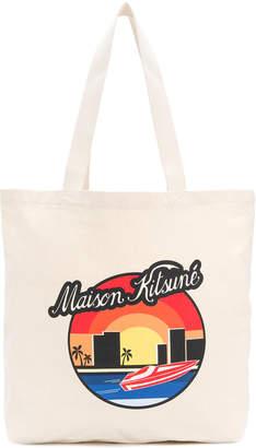 MAISON KITSUNÉ graphic print shoulder bag