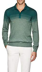 Fioroni Men's Ombré-Striped Cashmere-Silk Polo Shirt - Green