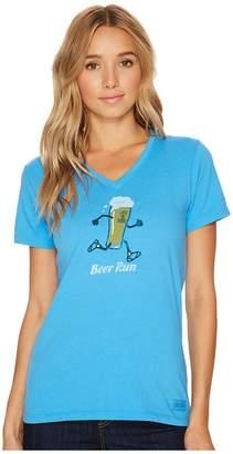 Life is Good Beer Run Crusher Vee Women's T Shirt