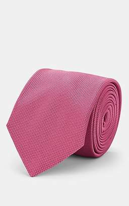 Barneys New York Men's Woven Silk-Cotton Necktie - Pink Overflow