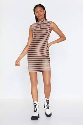 Nasty Gal Lucky Stripe Zip Midi Dress