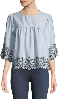 London Times Three-Quarter Sleeve Embroidered Boxy Blouse