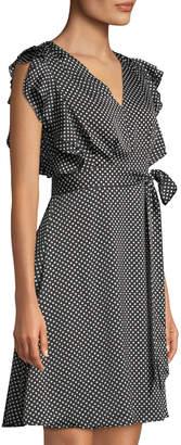 philosophy Faux-Wrap Polka-Dot A-Line Dress