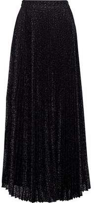 Haute Hippie Pleated Metallic Fil Coupé Organza Maxi Skirt