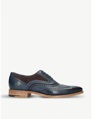 Barker McClean mixed leather oxford brogues