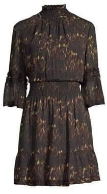 Kobi Halperin Smocked Animal Print Dress
