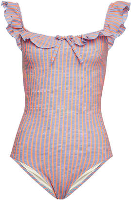 Solid & Striped The Amelia Striped Swimsuit with Ruffles