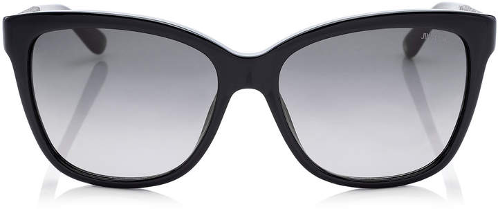 Jimmy Choo CORA Black Acetate Square Framed Sunglasses with Glitter Fabric Detailing